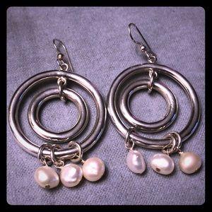 Jewelry - Double Ring Earrings w/Pearls